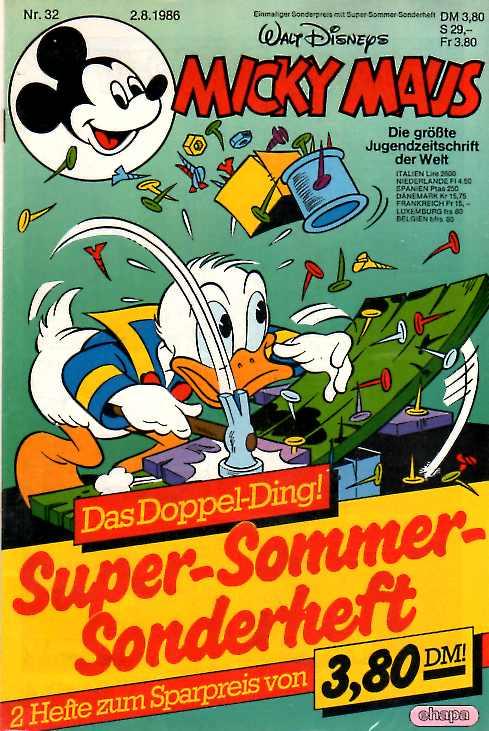 micky maus heft 32  1986 ovp in folie inkl super sommer