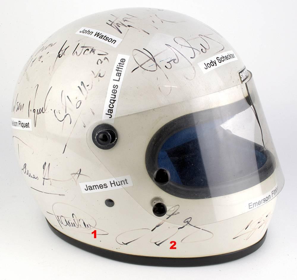 original formel 1 helm helmet mit 26 autogrammen. Black Bedroom Furniture Sets. Home Design Ideas
